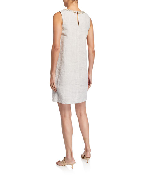 120% Lino Embellished V-Neck Sleeveless Shift Dress