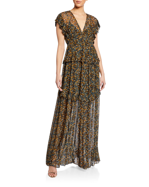ba&sh Samanta Printed Short-Sleeve Dress