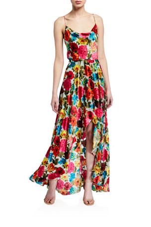 Alice + Olivia Christina High-Low Cowl-Neck Dress