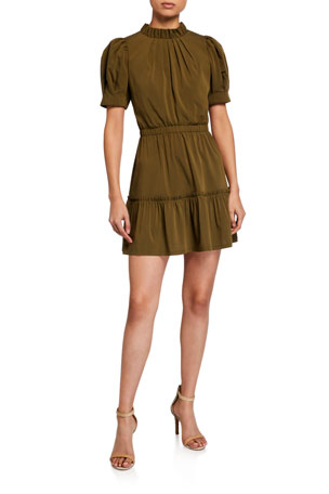 Alice + Olivia Vida Puff-Sleeve Tiered Dress