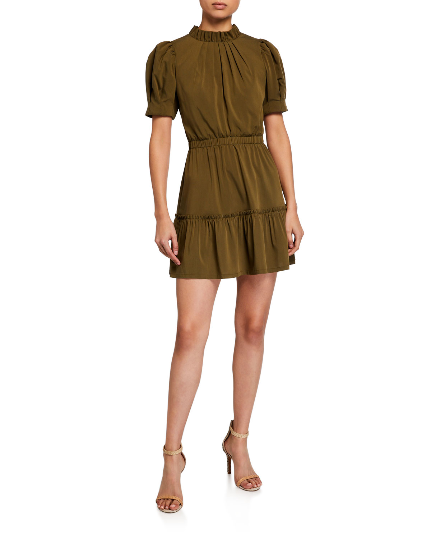 Alice + Olivia Vida Puff-Sleeve Tiered Dress