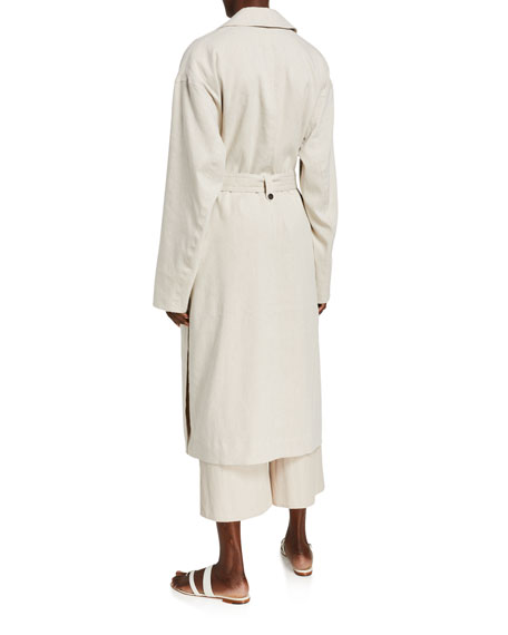 Image 2 of 3: Vince Side-Slit Linen Trench Coat