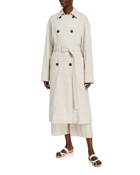 Image 3 of 3: Vince Side-Slit Linen Trench Coat