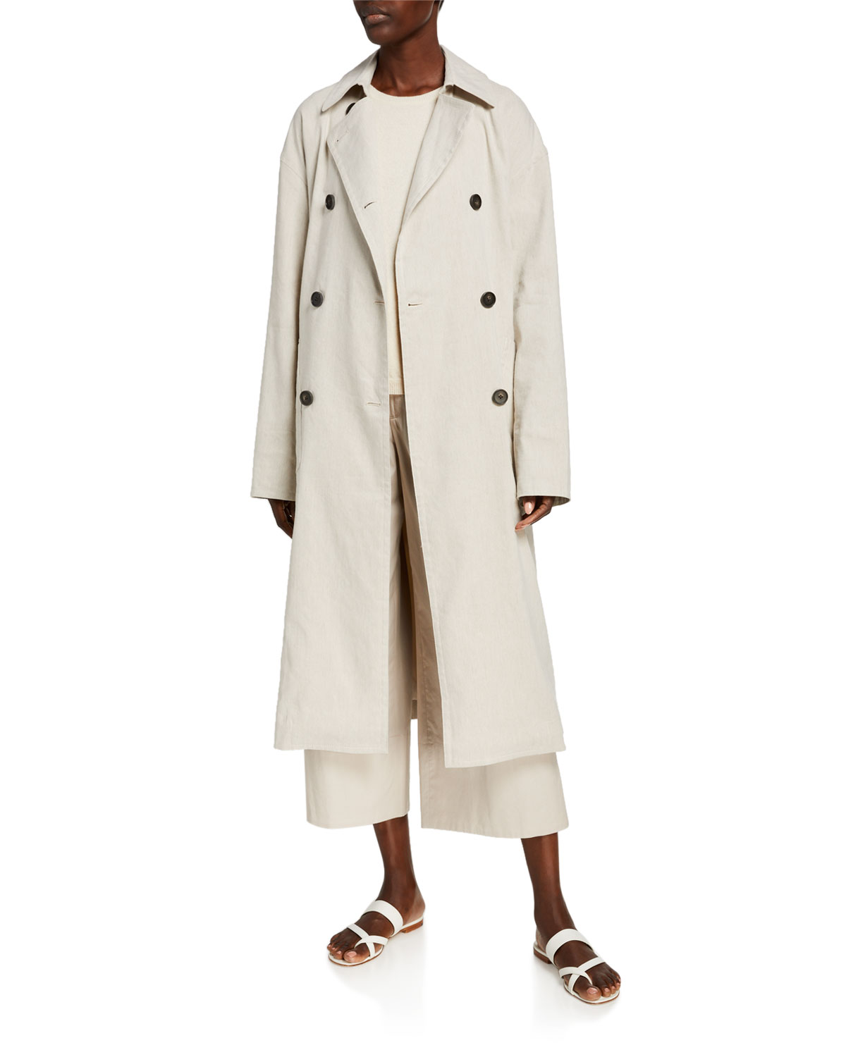 Vince Side-Slit Linen Trench Coat