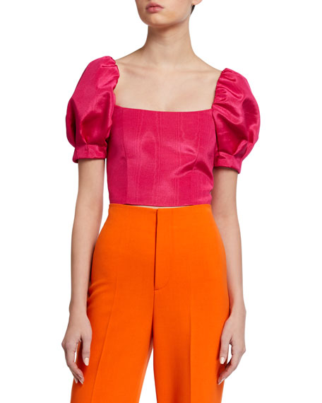 Alice + Olivia Joslyn Puff-Sleeve Cropped Top