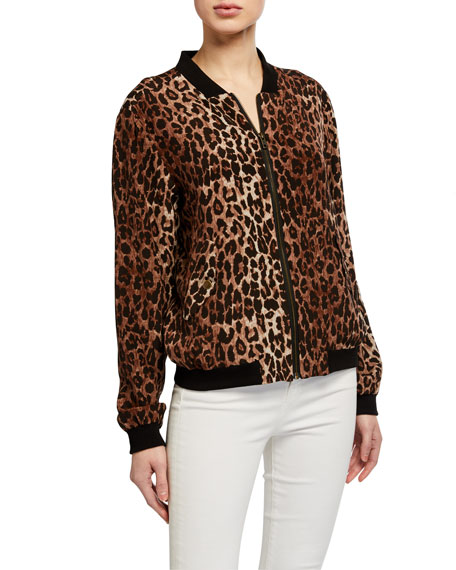 Image 2 of 3: Johnny Was Leopard Print Silk Bomber Jacket w/ Rose Print Lining