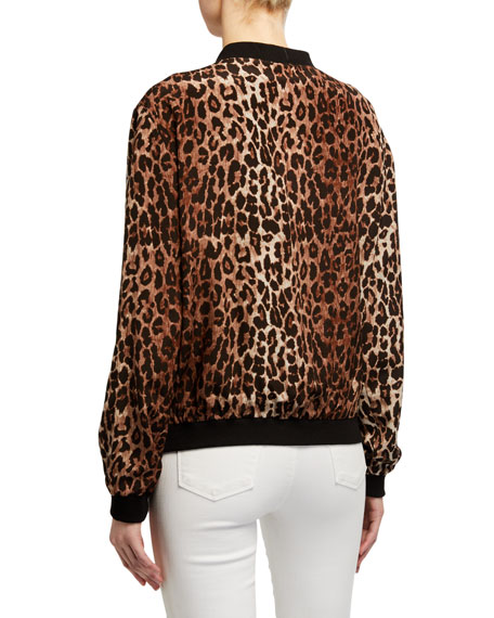 Image 3 of 3: Johnny Was Leopard Print Silk Bomber Jacket w/ Rose Print Lining