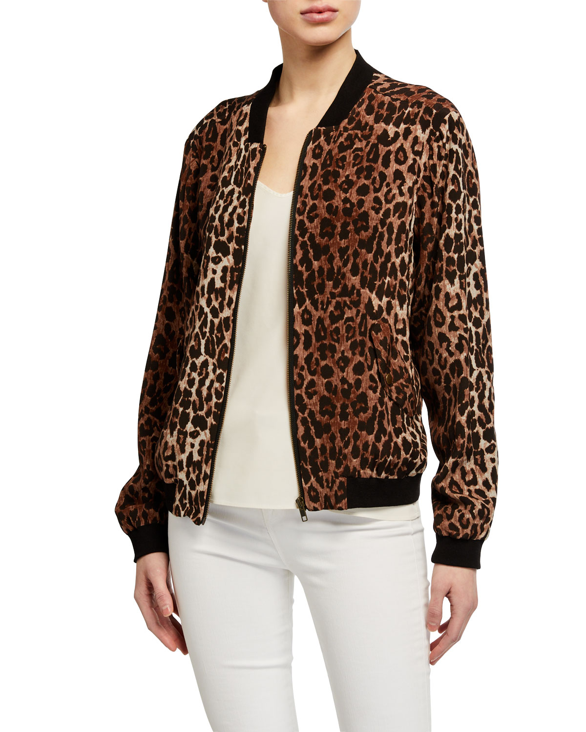 Johnny Was Leopard Print Silk Bomber Jacket w/ Rose Print Lining