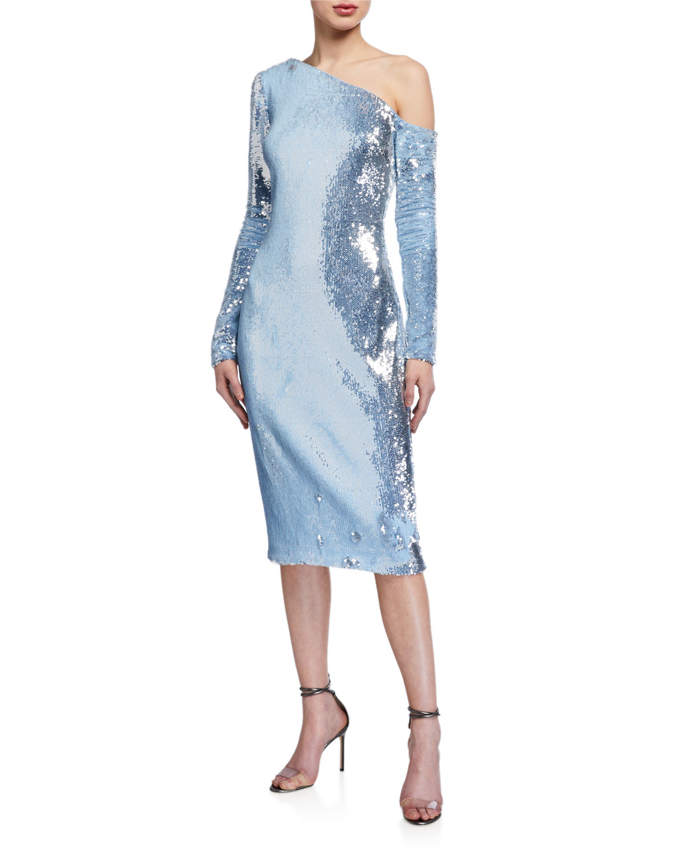 Badgley Mischka Collection Sequin One-Shoulder Long-Sleeve Sheath Dress