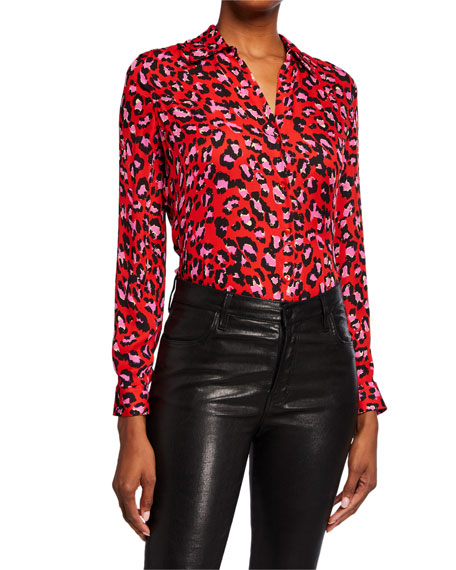 L'Agence Nina Animal-Print Long-Sleeve Silk Blouse
