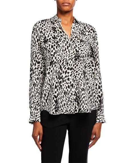 Lafayette 148 New York Zora Cheetah Print Silk Button-Down Blouse
