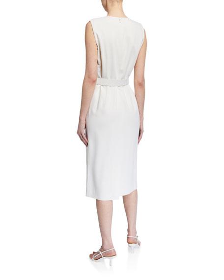 Lafayette 148 New York Selina Surrealist Double Face Wool Belted Dress