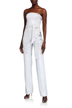 Dress The Population Trinity White Micro Sequin Strapless Jumpsuit