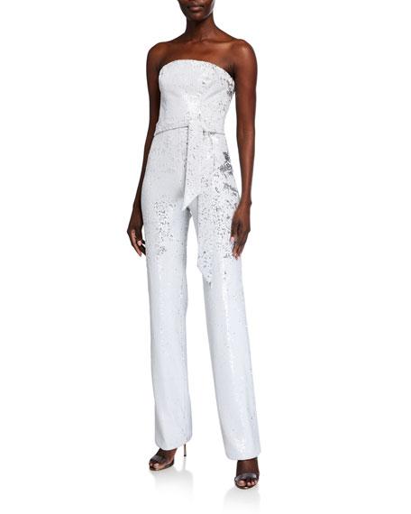 Wedding jumpsuit - Trinity White Micro Sequin Strapless Jumpsuit