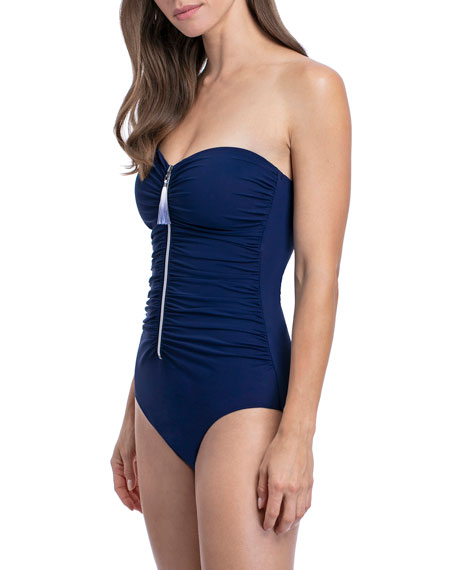 Profile by Gottex Zip It Up Bandeau One-Piece Swimsuit
