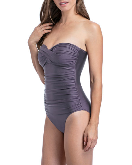Profile by Gottex Satin Nights Bandeau One-Piece Swimsuit