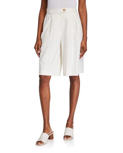 Pleated Linen Bermuda Shorts