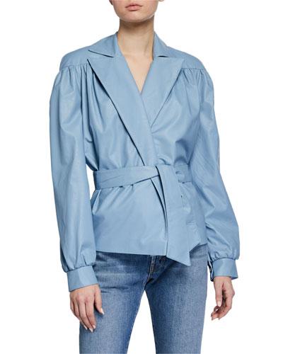 Short Vegan Leather Jacket w/ Belt