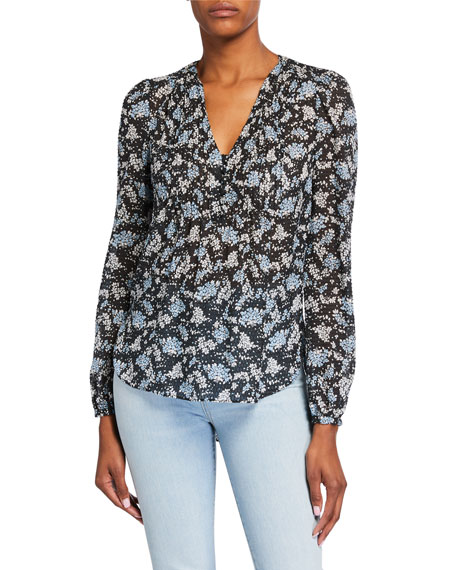 Image 2 of 3: Veronica Beard Lowell V-Neck Floral-Print Blouse