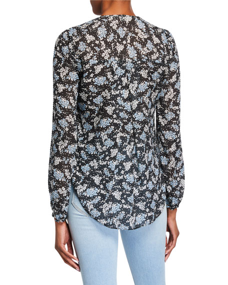 Image 3 of 3: Veronica Beard Lowell V-Neck Floral-Print Blouse