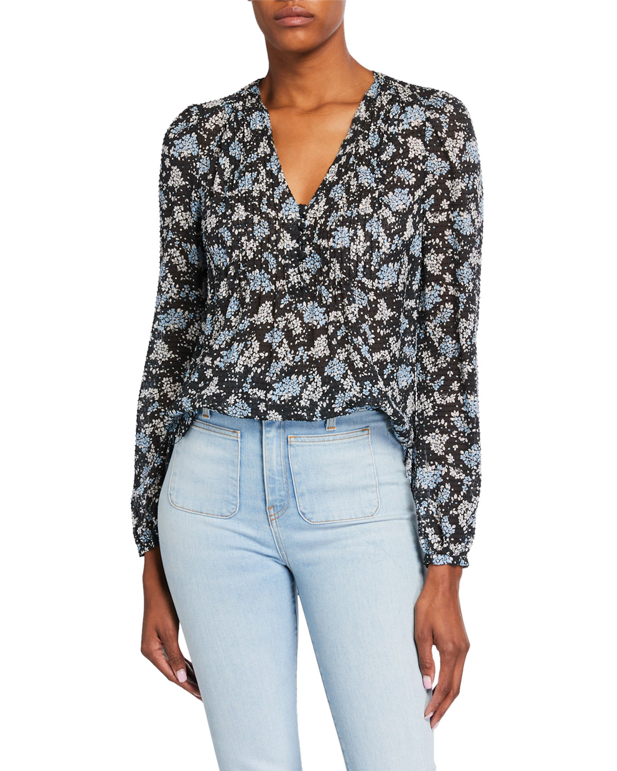 Veronica Beard Lowell V-Neck Floral-Print Blouse