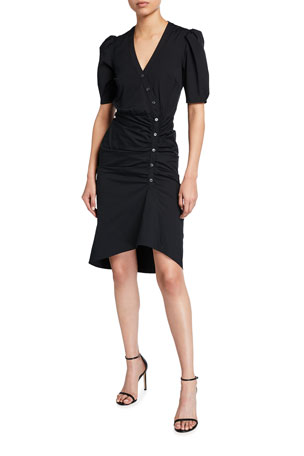 Veronica Beard Atia Short-Sleeve Button-Down Dress