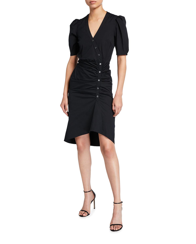 Veronica Beard Atia Short-Sleeve Button-Down Dress