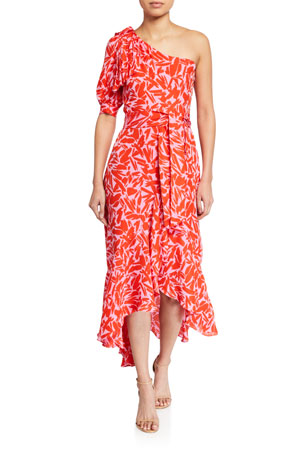 Veronica Beard Vie Printed One-Shoulder Midi Dress $650.00