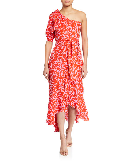 Veronica Beard Vie Printed One-Shoulder Midi Dress