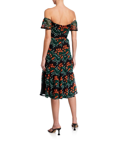 Dress The Population River Floral Embroidered Off-the-Shoulder Sweetheart Dress