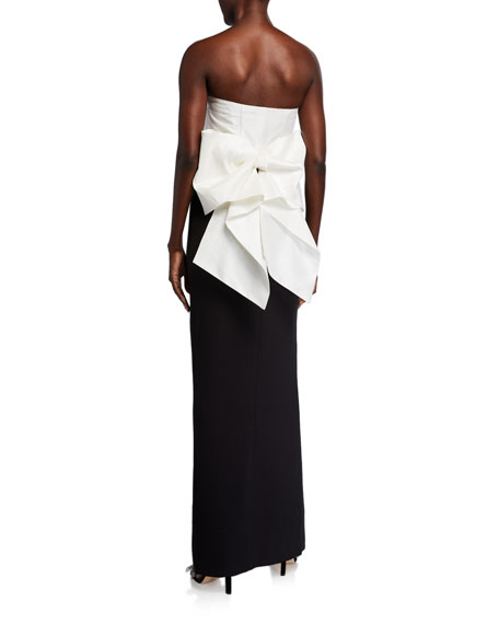 Likely Amalia Colorblock Bow-Back Strapless Column Gown