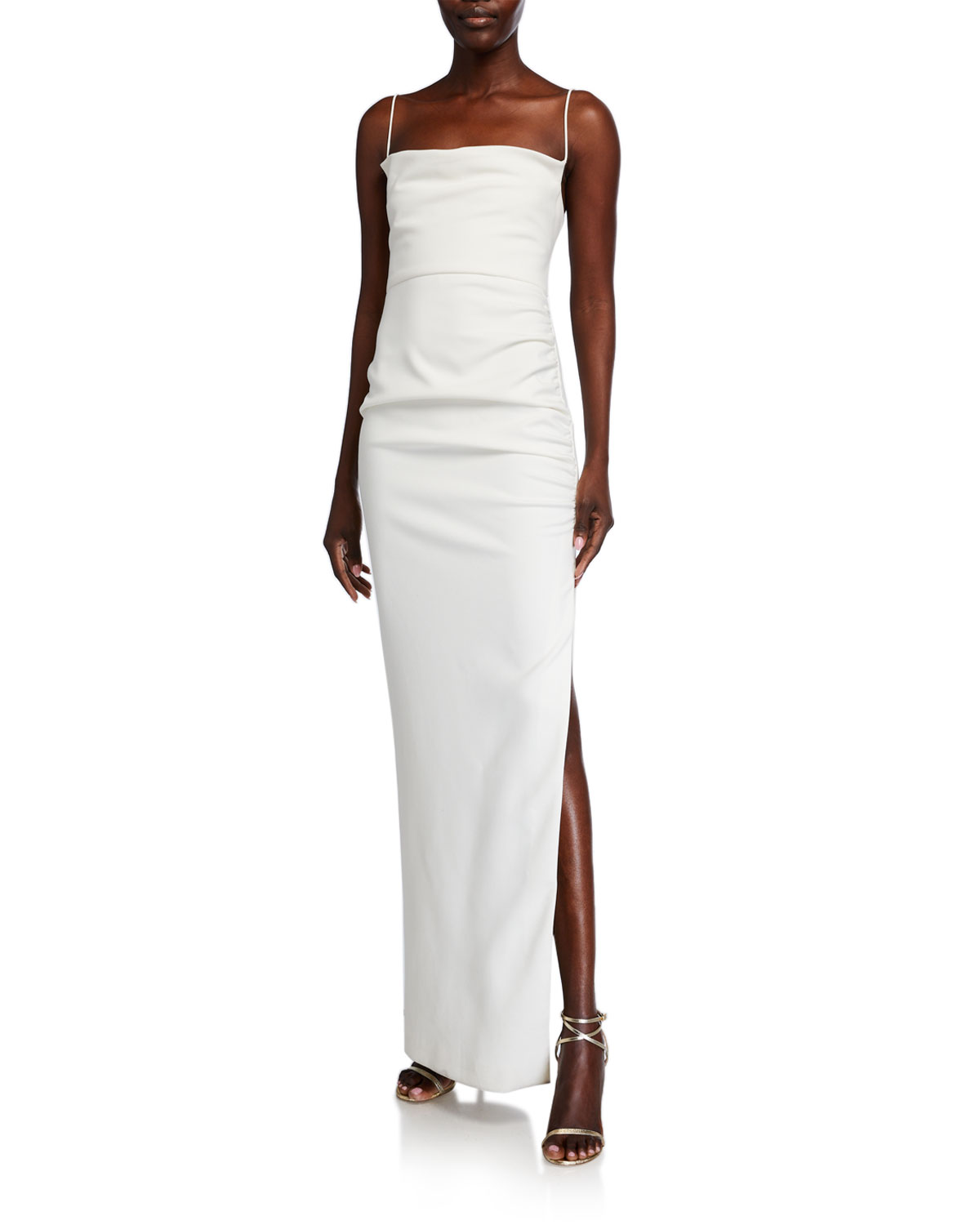 Likely Celida Cowl-Neck Shirred Column Gown