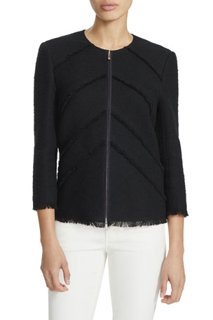 Lafayette 148 New York Reynolds Zip-Front Burano Boucle Weave Jacket