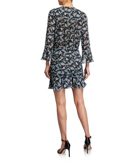 Image 2 of 2: Veronica Beard Sean Ruched Floral-Print Dress