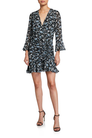 Veronica Beard Sean Ruched Floral-Print Dress