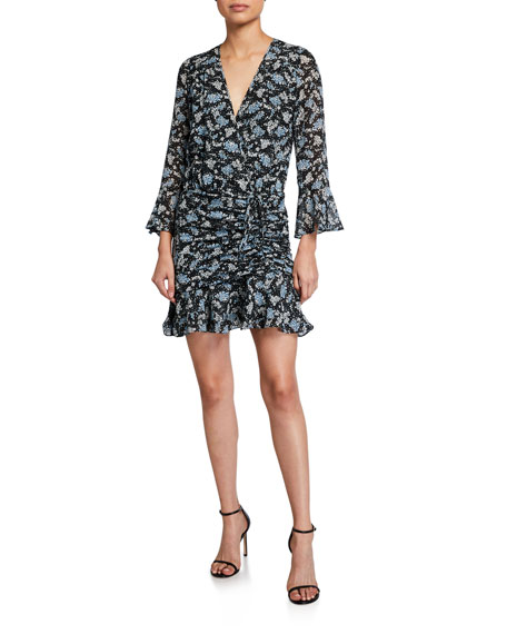 Image 1 of 2: Veronica Beard Sean Ruched Floral-Print Dress