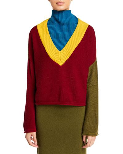 Long-Sleeve Mock Turtleneck Wool Sweater