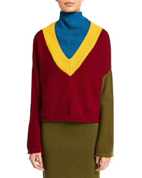 Victor Glemaud Long-Sleeve Mock Turtleneck Wool Sweater