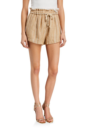 Forte Forte High-Waist Linen-Cotton Herringbone Shorts