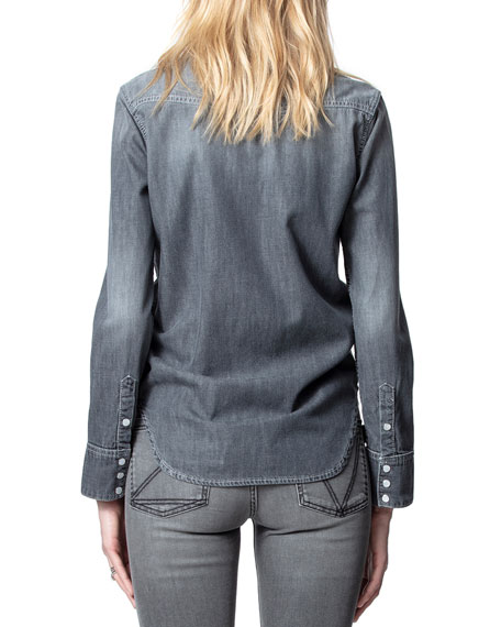 Image 2 of 4: Zadig & Voltaire Thelma Embellished Button-Down Shirt
