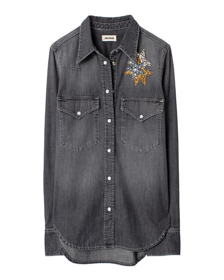 Image 4 of 4: Zadig & Voltaire Thelma Embellished Button-Down Shirt