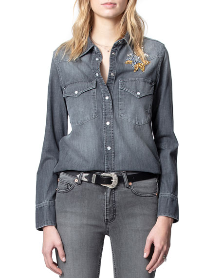 Image 1 of 4: Zadig & Voltaire Thelma Embellished Button-Down Shirt