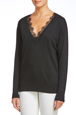 Bailey 44 Natalia V-Neck Sweater with Lace