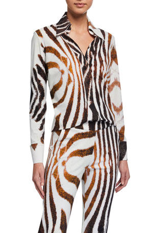 Chiara Boni La Petite Robe Atena Animal-Print Long-Sleeve Blouse