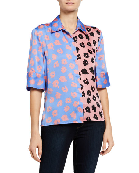 Image 2 of 3: Quesnel Colorblock Elbow-Sleeve Button-Down Top