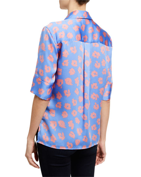 Image 3 of 3: Quesnel Colorblock Elbow-Sleeve Button-Down Top
