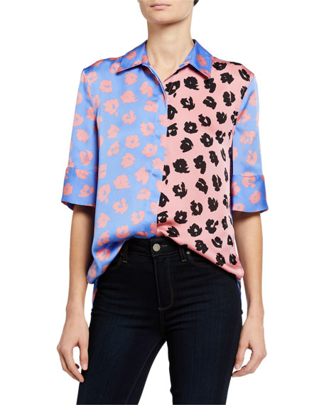 Image 1 of 3: Quesnel Colorblock Elbow-Sleeve Button-Down Top