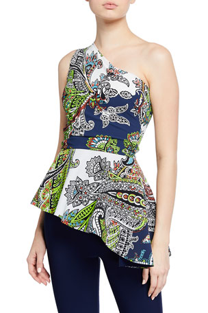 Chiara Boni La Petite Robe King Printed One-Shoulder Peplum Top