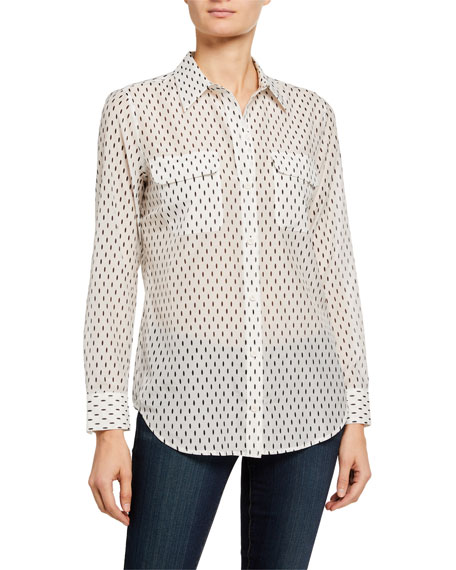 Image 2 of 3: Equipment Slim Signature Dash-Print Long-Sleeve Button-Down Blouse