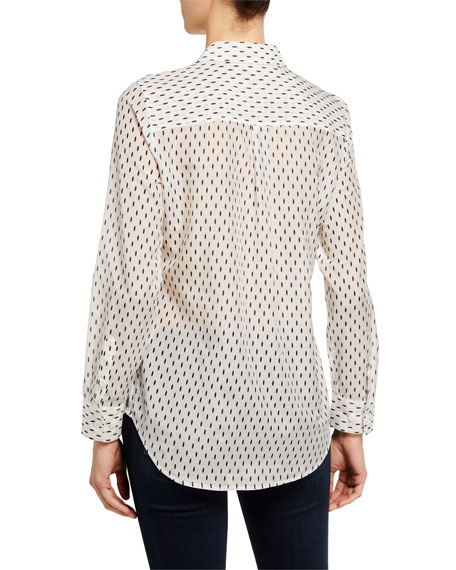 Image 3 of 3: Equipment Slim Signature Dash-Print Long-Sleeve Button-Down Blouse